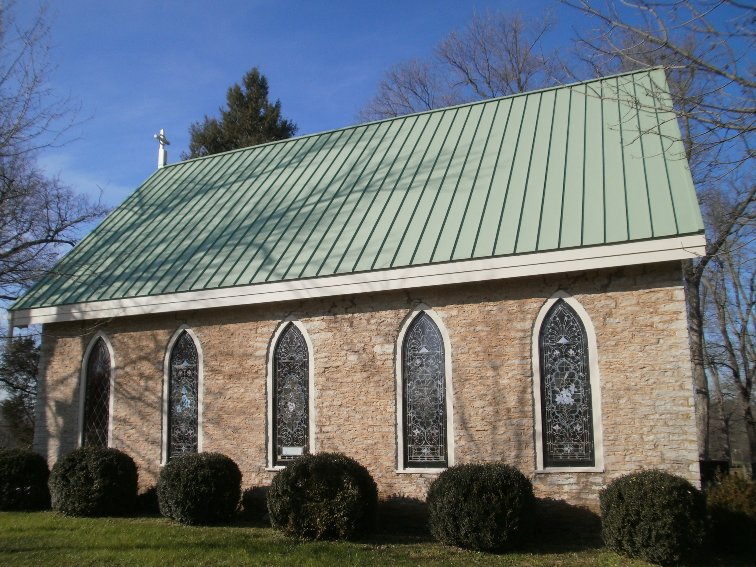 Church roof replaced with a new standing seam metal roof.
